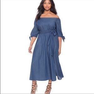 Eloquii Off Shoulder Chambray Denim Dress
